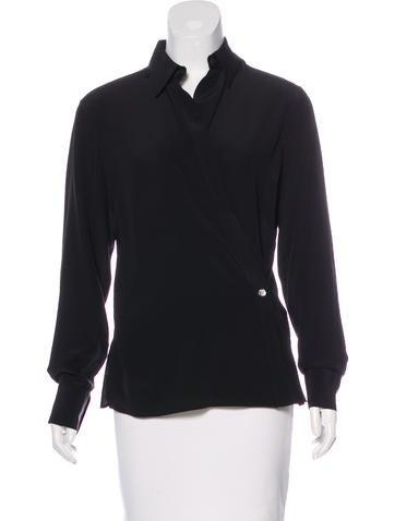 Hermès Silk Surplice Neck Top None