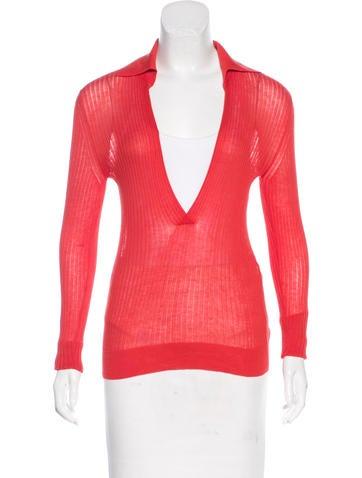 Hermès Long Sleeve Rib Knit Sweater None