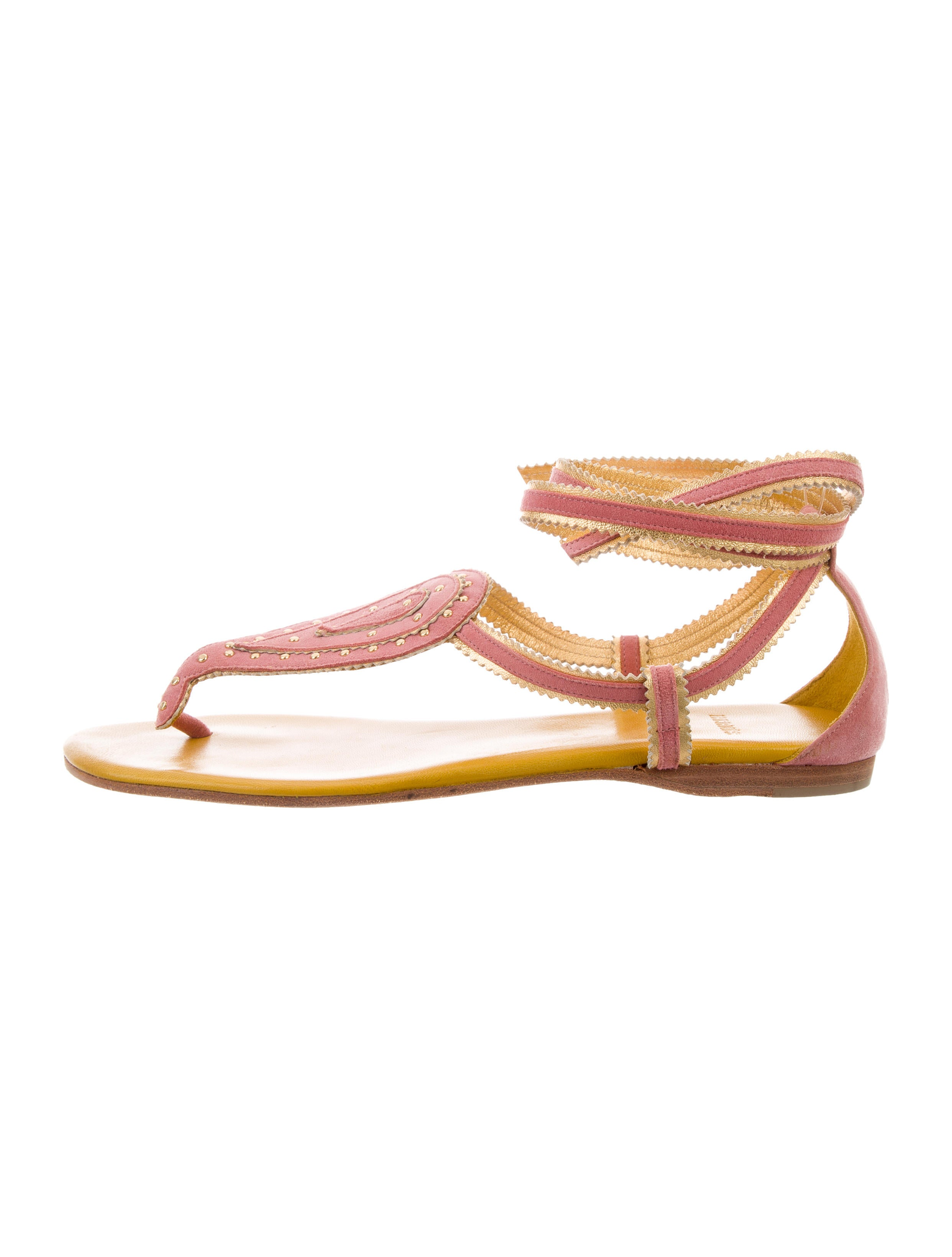 sale under $60 buy cheap lowest price Hermès Suede Lace-Up Sandals free shipping recommend VbJJtPq9