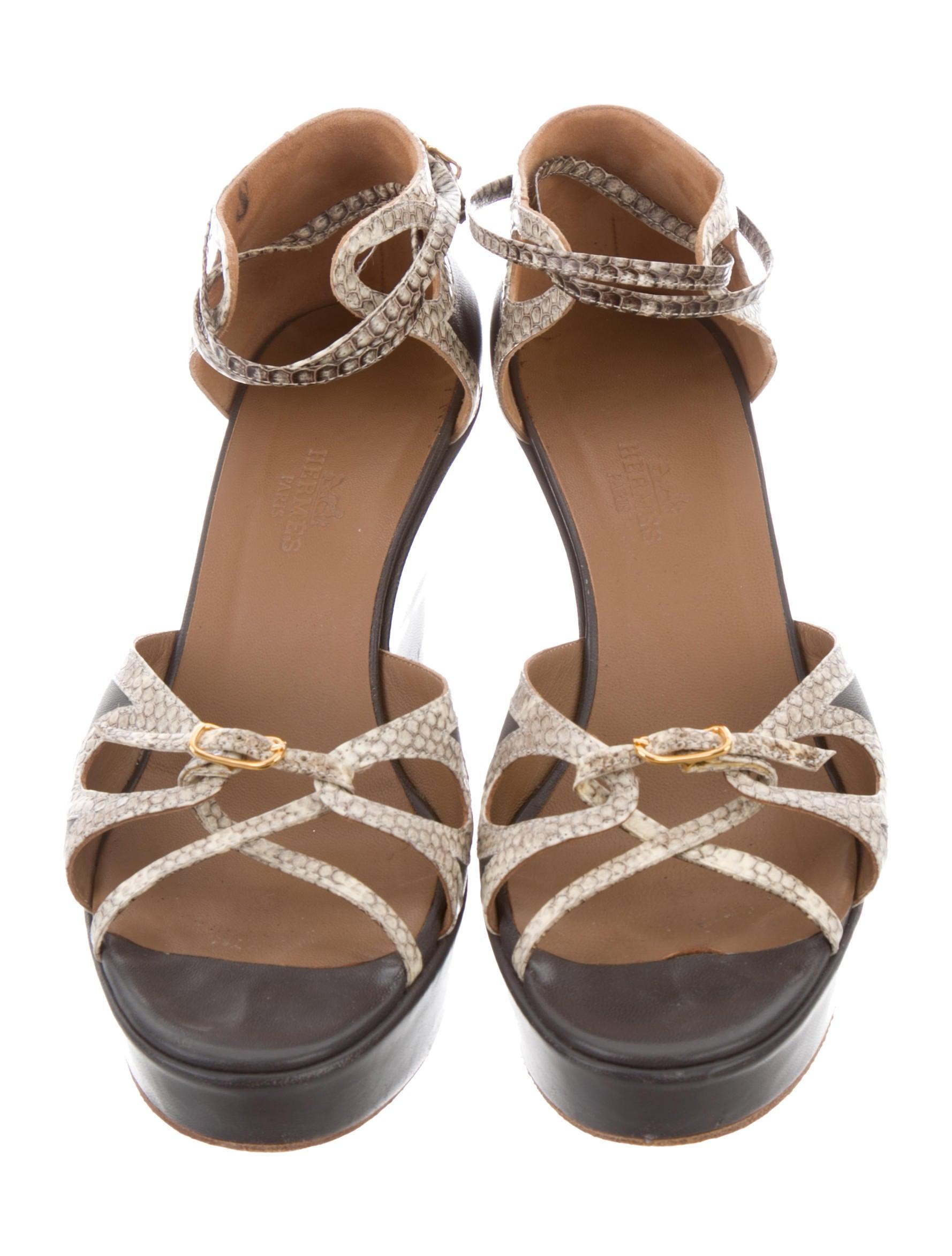 sale release dates Hermès Snakeskin-Trimmed Wedge Sandals lowest price cheap price JUWol39NPf