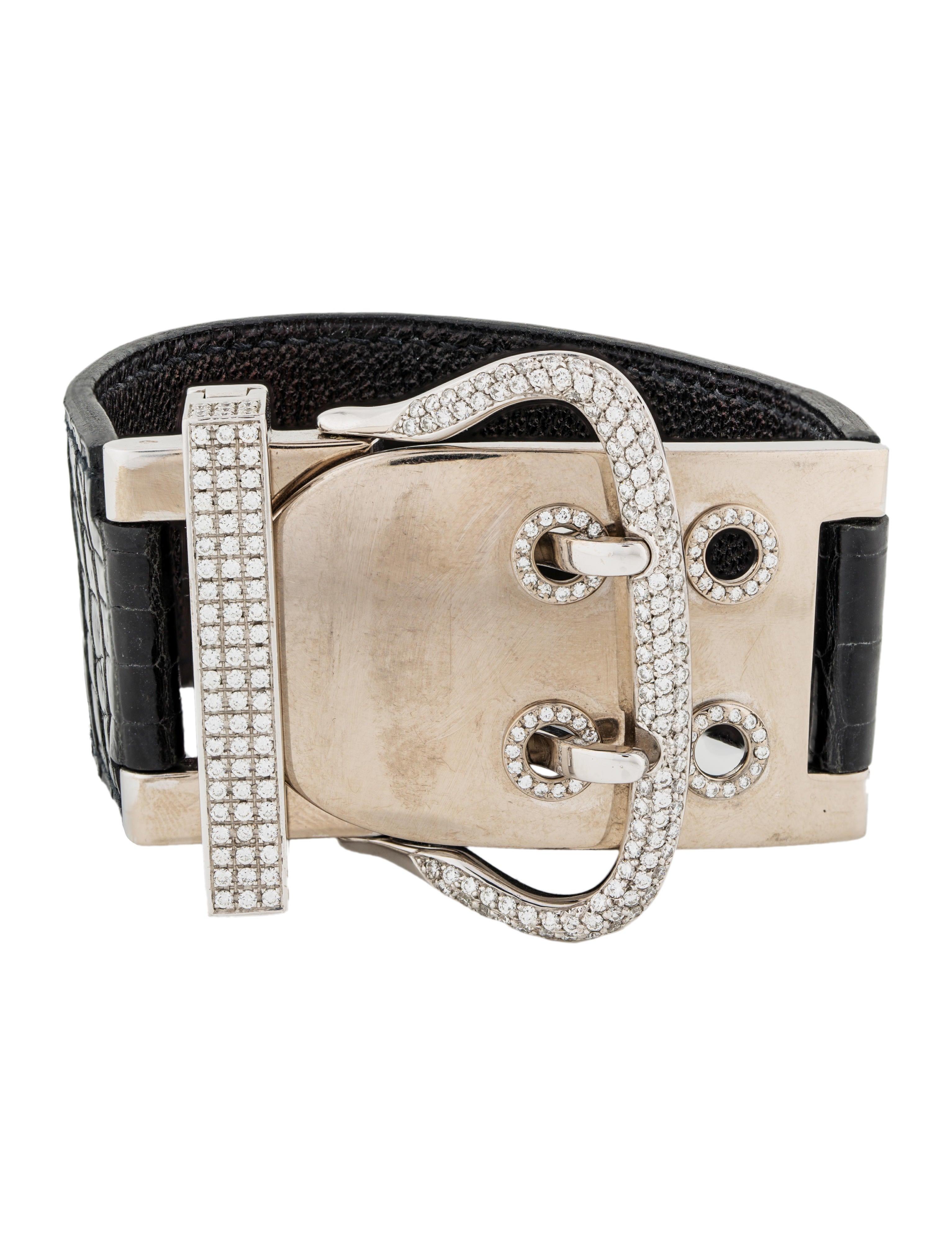 2967585cb829 Hermès 18K Diamond Boucle Sellier TGM Bracelet - Bracelets - HER134014    The RealReal