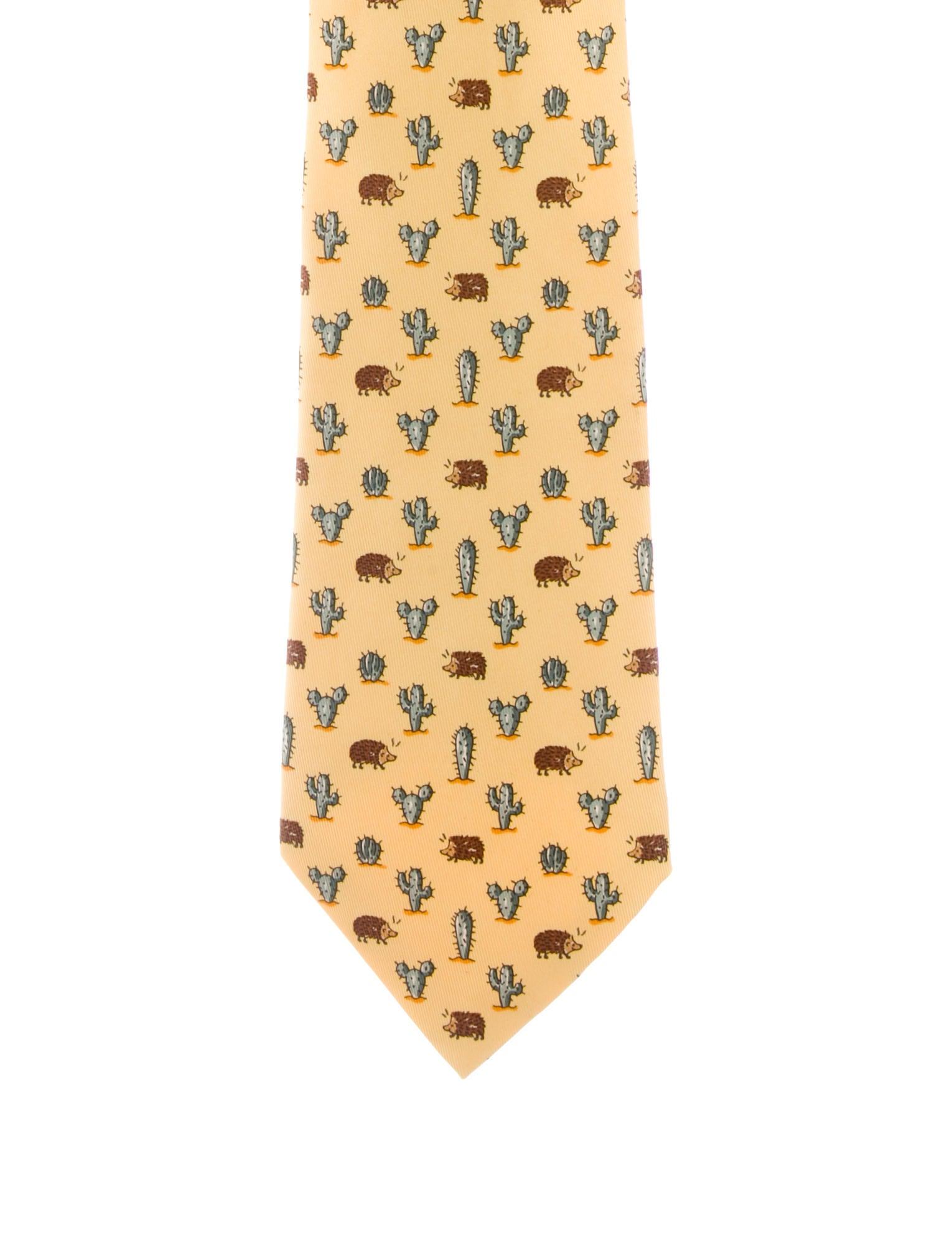 15b4c60a39ec Hermès Cactus Print Silk Tie - Suiting Accessories - HER146007 | The ...