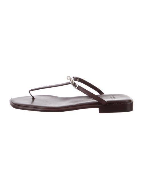 Hermès Leather Thong Sandals silver
