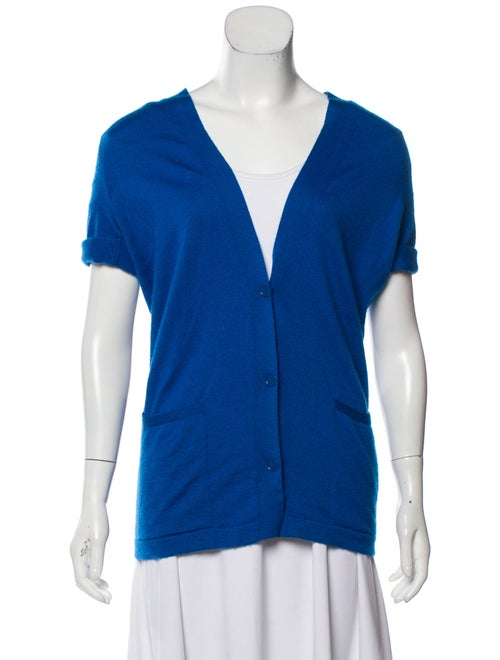 Hermès Cashmere Short Sleeve Cardigan blue