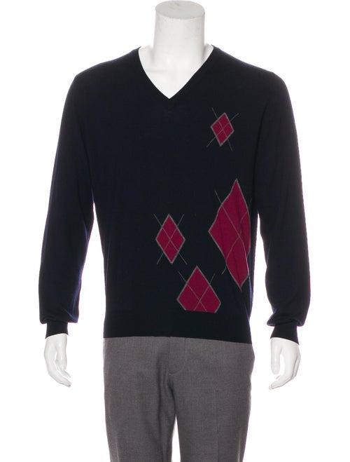 Hermès Argyle Wool Sweater navy
