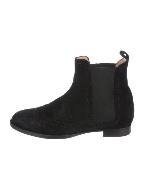 Hermès Suede Brogue Booties Black