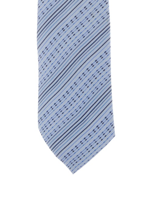 Hermès Striped Silk Tie blue