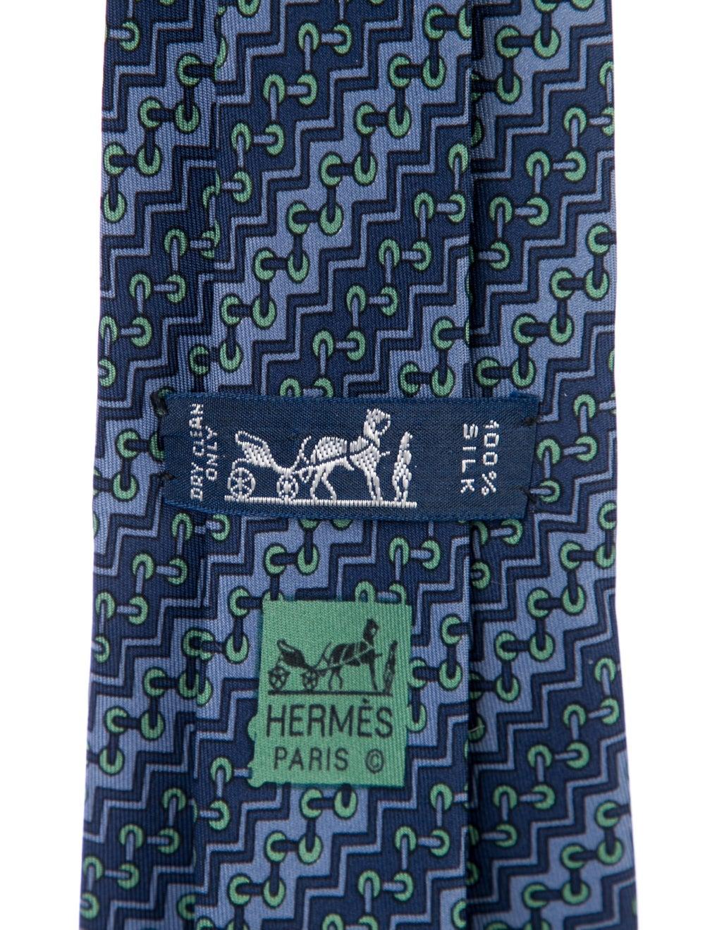 Hermès Silk Printed Tie blue - image 2