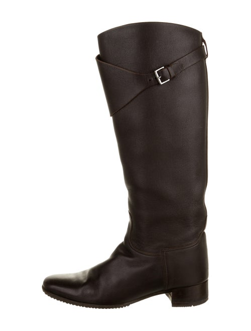Hermès Leather Knee-High Boots Brown