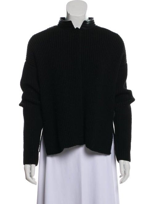 Hermès Leather-Trimmed Yak Cardigan Black