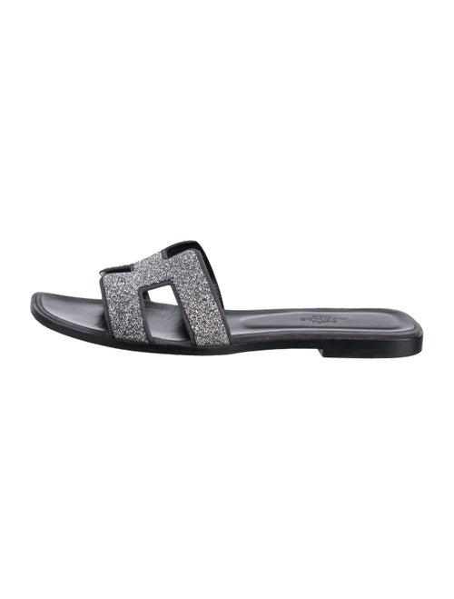 Hermès Oran Glitter Sandals Silver