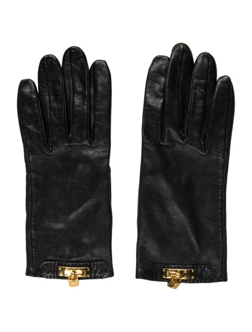 Hermès Embellished Leather Gloves Black