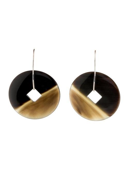 Hermès Horn Tsuba Drop Earrings silver