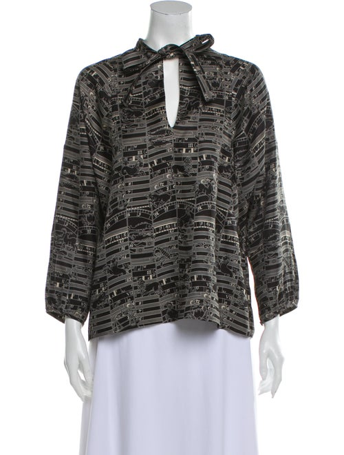 Hermès Silk Printed Blouse Black