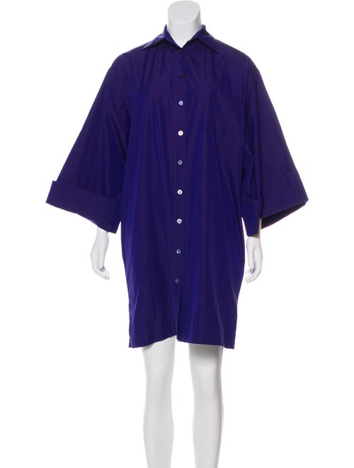 Hermès Button-Up Mini Dress Purple