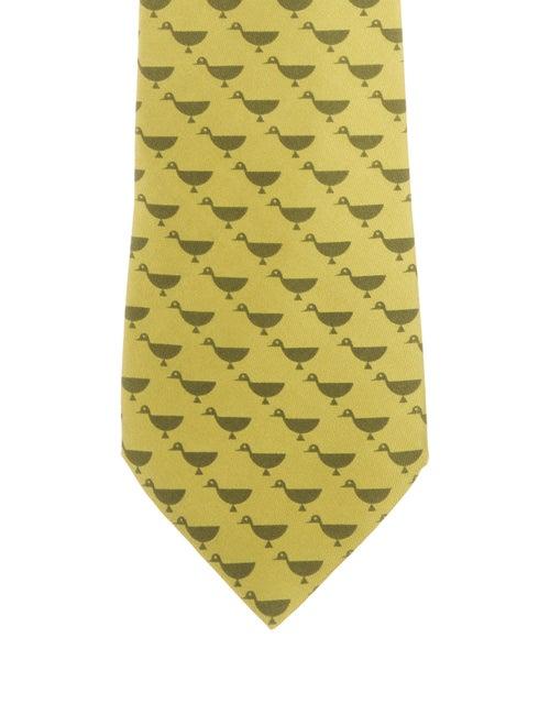 Hermès Silk Bird Tie chartreuse
