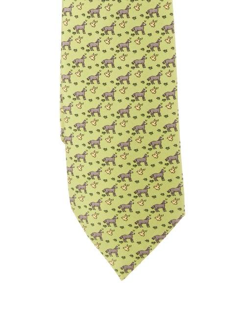 Hermès Silk Horse Tie chartreuse - image 1