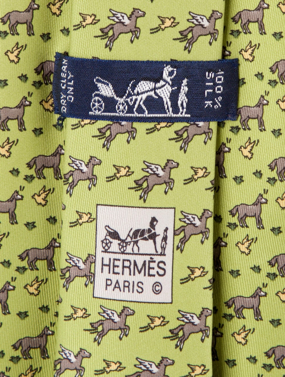 Hermès Silk Horse Tie chartreuse - image 2