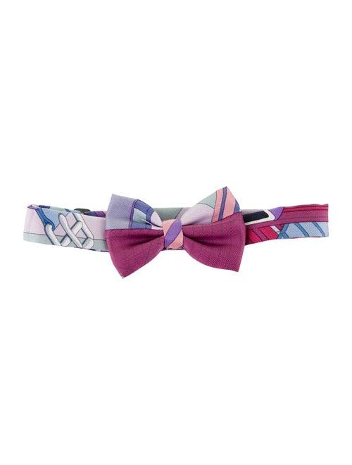 Hermès Les Sangles Silk Bow tie blue