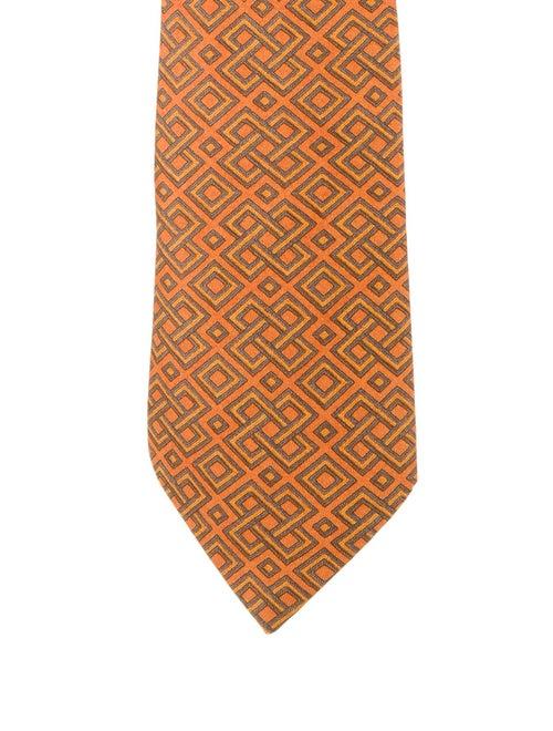 Hermès Silk Geometric Tie orange