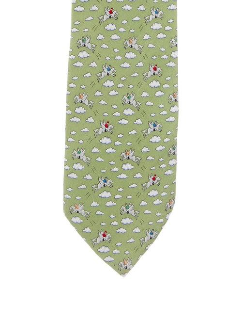Hermès Printed Silk Tie olive
