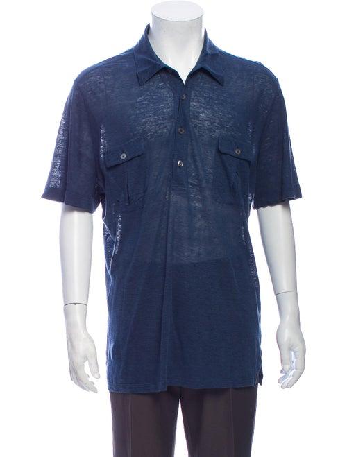 Hermès Linen V-Neck Polo Shirt Blue