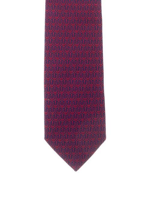 Hermès Silk Patterned Tie navy
