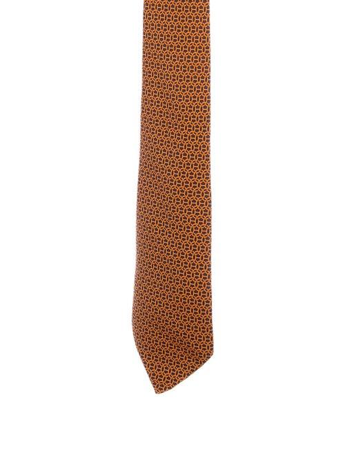 Hermès Silk Patterned Tie orange