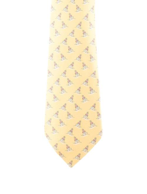 Hermès Printed Silk Tie yellow