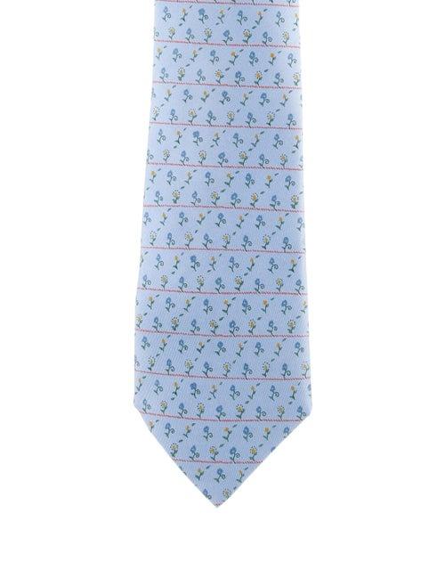 Hermès Floral Silk Tie blue