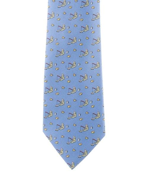 Hermès Printed Silk Tie blue