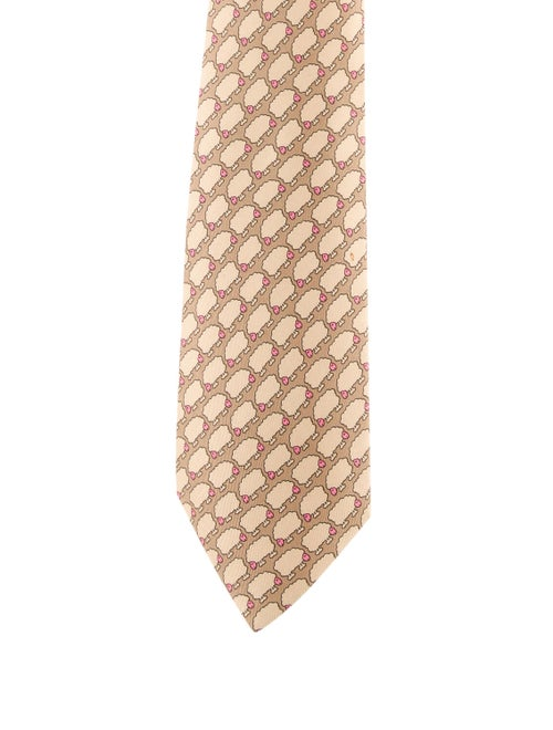 Hermès Printed Silk Tie brown