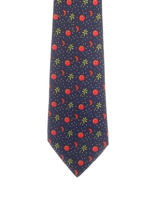 Hermès Silk Printed Tie navy