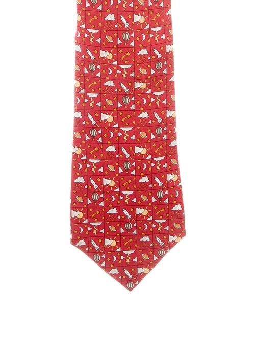 Hermès Silk Printed Tie red