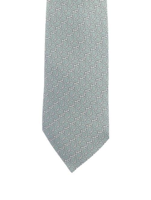 Hermès Silk Printed Tie green