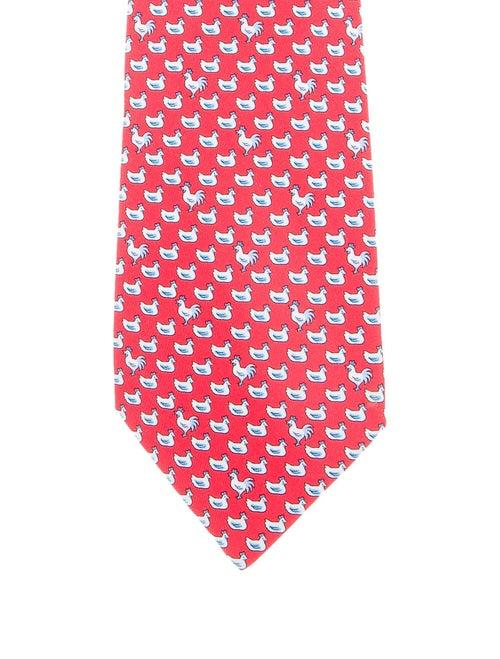 Hermès Printed Silk Tie red