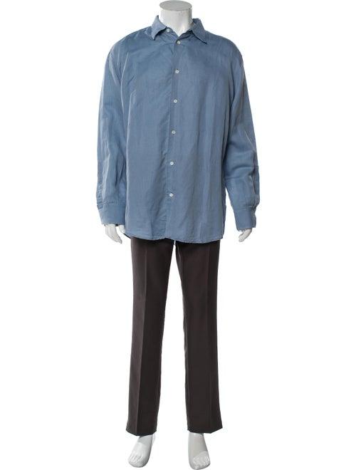 Hermès Linen Long Sleeve Shirt Blue