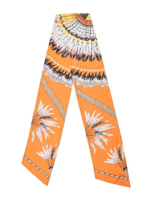 Hermès Feather Print Maxi Twilly Scarf Orange