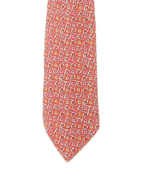 Hermès Patterned Silk Tie orange