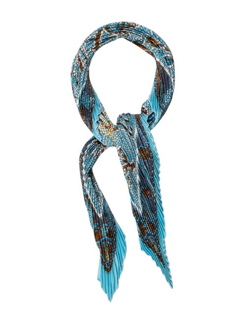 Hermès Pavement Silk Plissè Scarf Blue