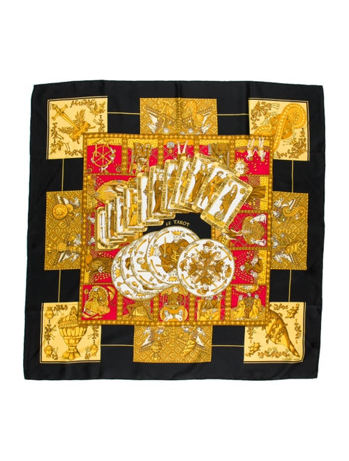 Hermès Le Tarot Silk Scarf Black