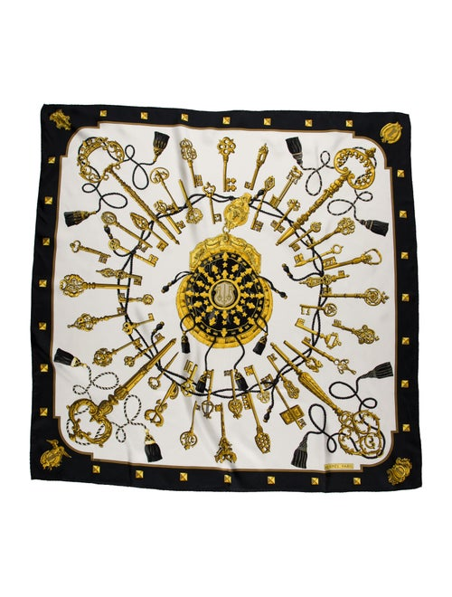 Hermès Les Cles Silk Scarf Black