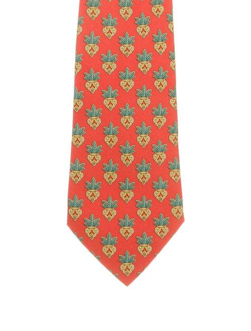 Hermès Silk Print Tie orange