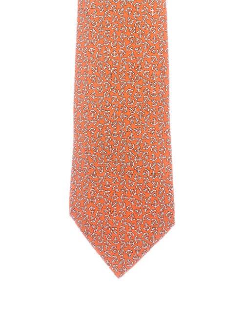 Hermès Anchor Silk Tie orange