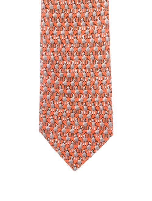 Hermès Horse Print Silk Tie w/ Tags orange