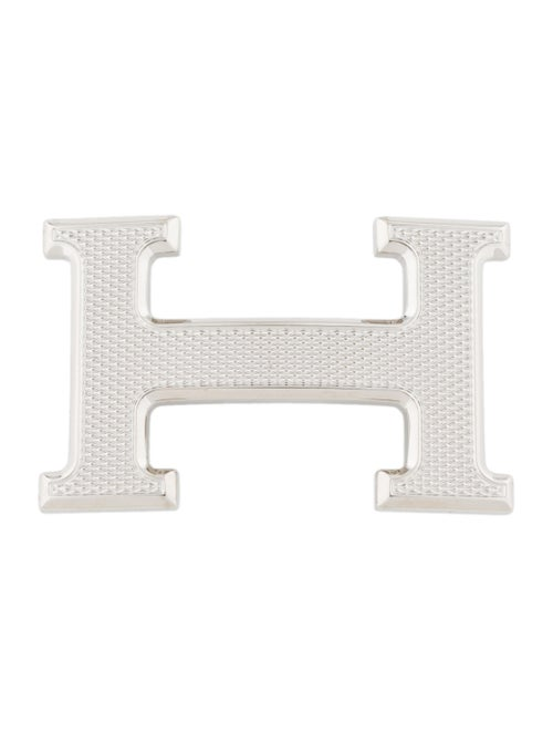 Hermès Guilloche H 32mm Belt Buckle silver
