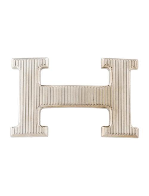 Hermès Strié H Belt Buckle silver