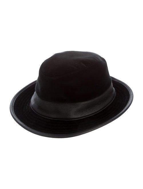 Hermès Leather-trimmed Velvet Bucket Hat Black