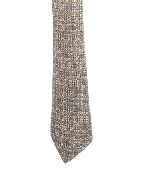 Hermès Printed Silk Tie chartreuse