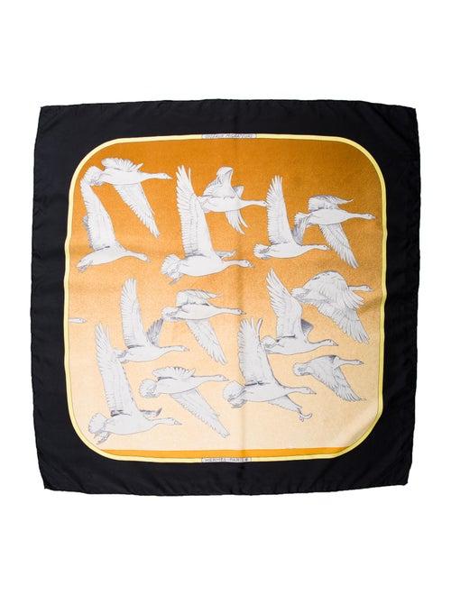 Hermès Oiseaux Migrateurs Silk Scarf Black